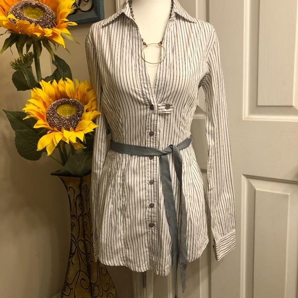 Topshop pinstripe button down shirt dress size 4